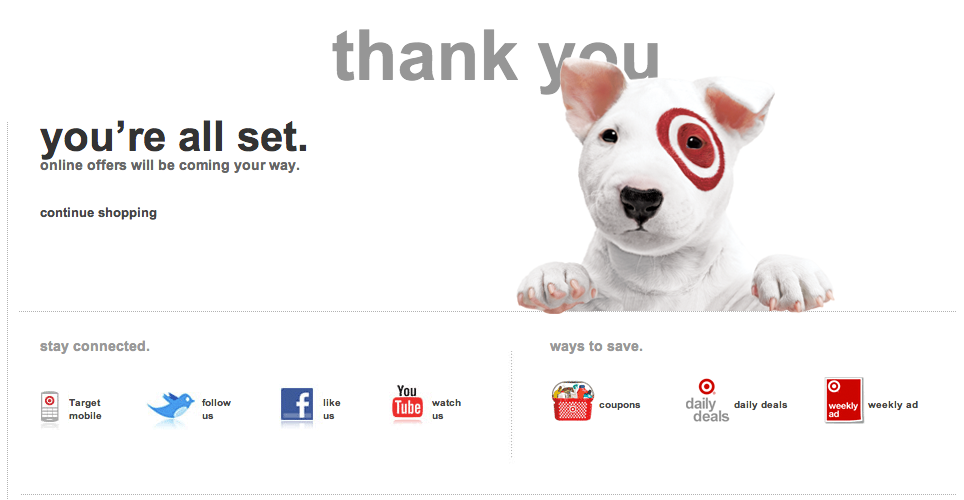 Target thank you page example