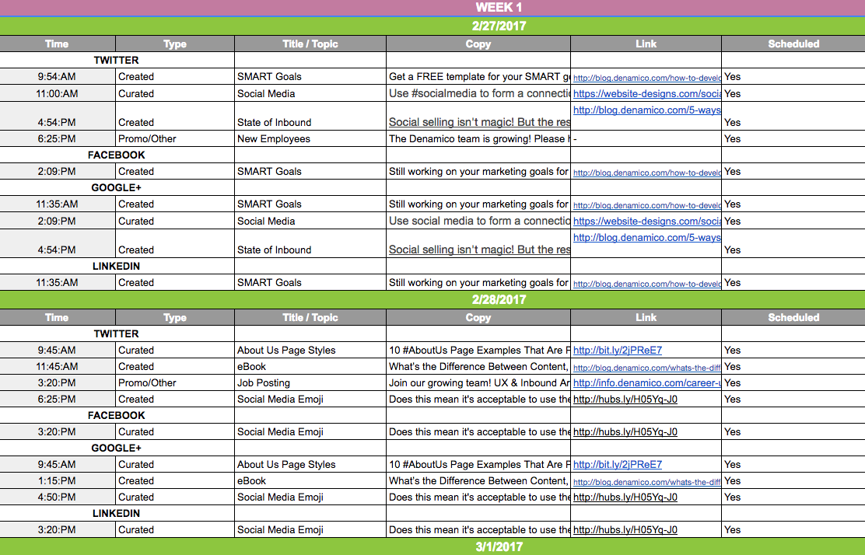 Content calendar for social media