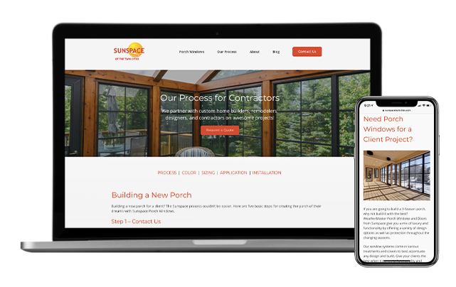 Sunspace for contractors shown on desktop and iPhone