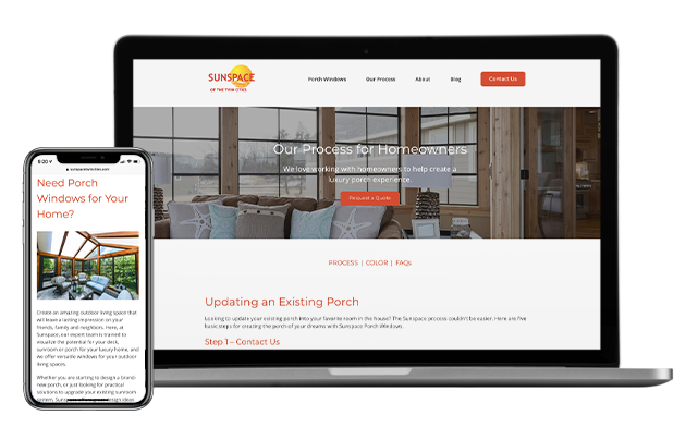 Sunspace for homeowners shown on desktop and iPhone